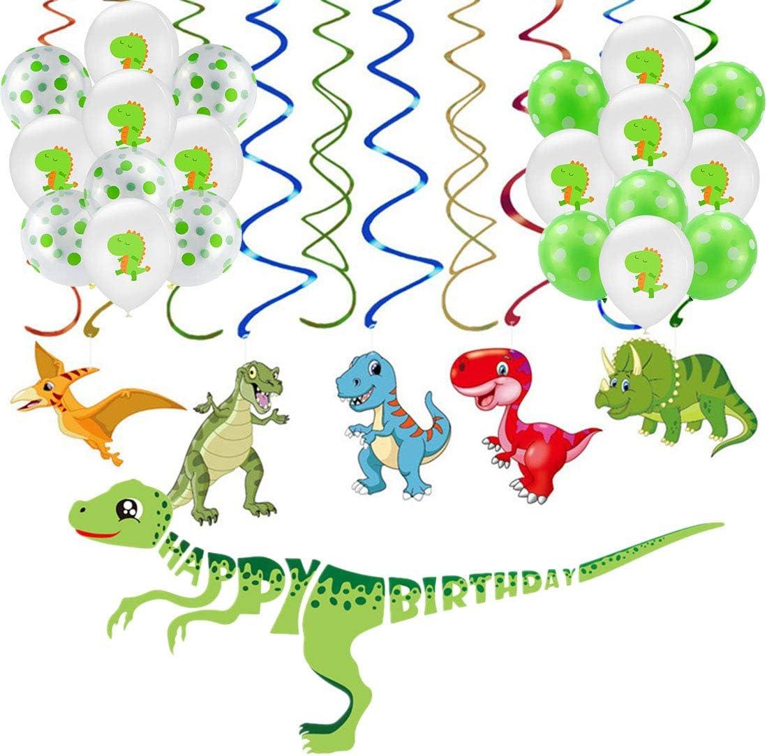 Keleily Kit de decoración de tema de dinosaurio Banner de feliz cumpleaños, suministros de remolino colgantes y globos de dinosaurio para fiesta de cumpleaños (Dino verde, 36PCS)