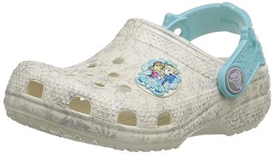 Crocs Girls' Classic Frozen K Clogs, Beige, White (oys), Child