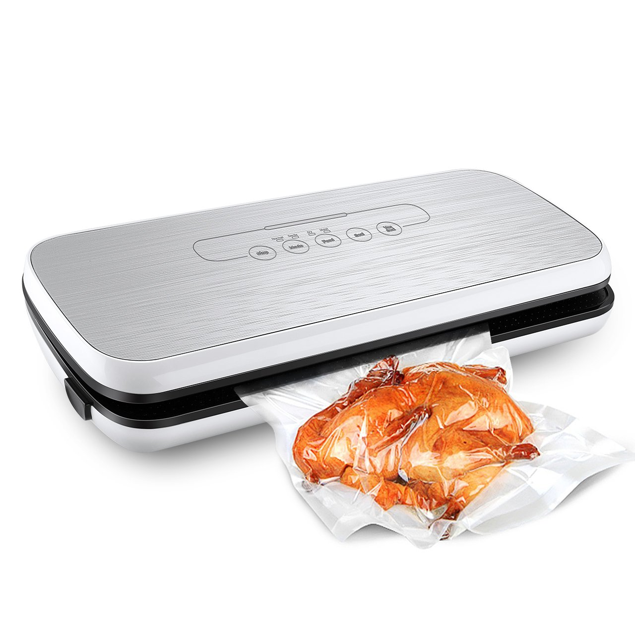 HoLife Food Saver Vacuum Sealer, Compact Vacuum Sealing System with Dry/Moist Mode and Simple Quick Operation, Including Food Grade Vacuum Bags, Rolls and Hose (Silver ) LivSense