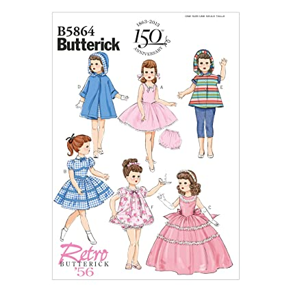 Amazon.com: BUTTERICK PATTERNS B5864OSZ B5864 Clothes for Doll ...