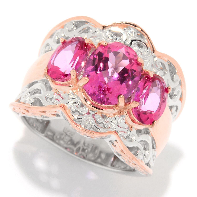 Amazon.com: Michael Valitutti Palladium Silver Pink Topaz Three ...