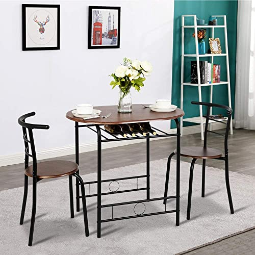 Bonnlo 3 Piece Dining Table Set Breakfast Bistro Pub Table