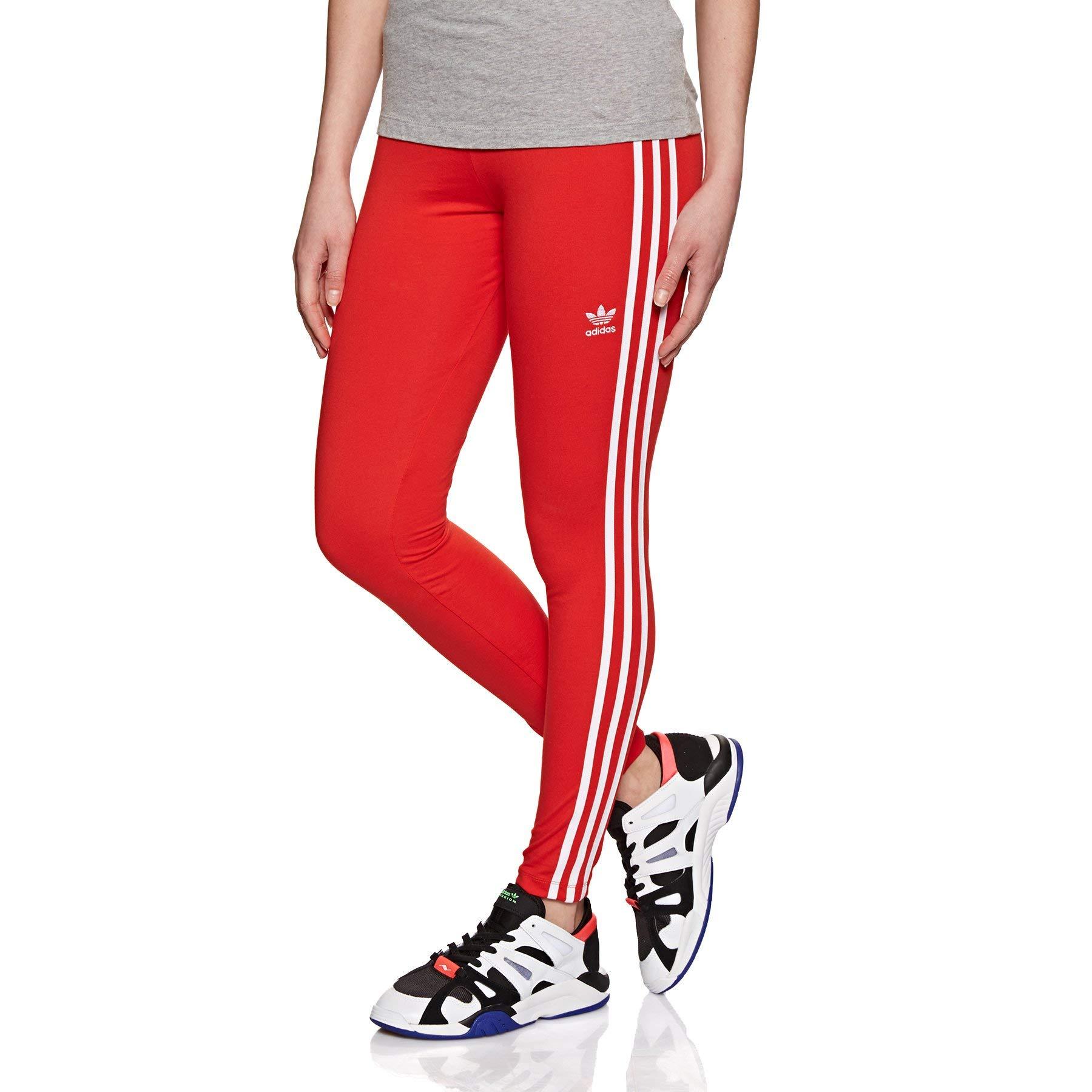 adidas Originals 3 Stripes Tight Leggings UK 12 Reg Active Red