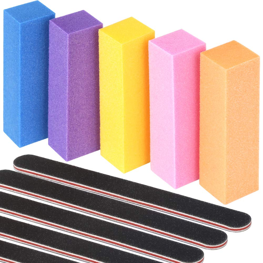 Nail Files And Buffers, Teenitor 100/180 Grit Emery Board Double Sided Professional Manicure Tool Buffer And Shine Block Kit Nail Care Products 10pcs/Pack : Beauty