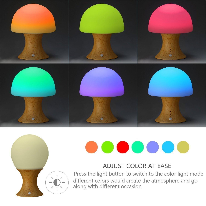 Childrens colour changing lights - Ledemain Children S Led Bedside Lamp Color Changing Mushroom Night Light Mood Light Reading Light For Baby Kids Bedroom Build In 1200mah Battery