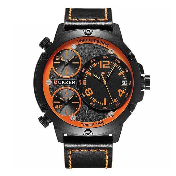CURREN 8262 reloj de cuarzo de los hombres múltiples automático fecha top lujo de la marca de moda reloj deportivo casual naranja: Amazon.es: Relojes