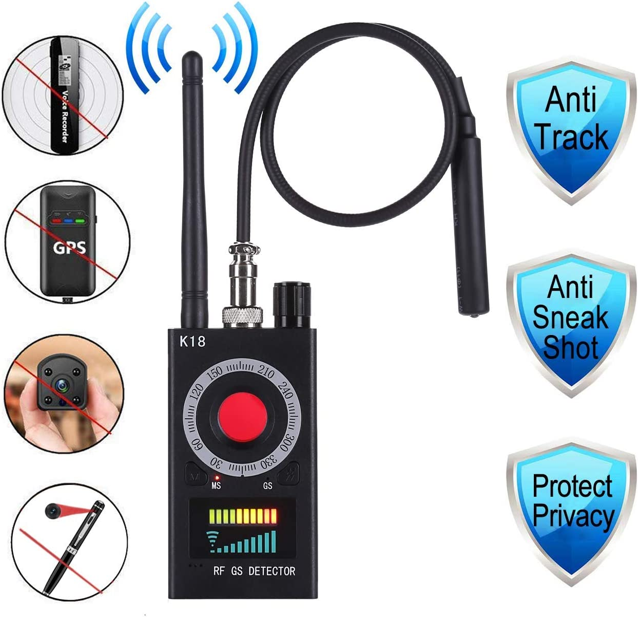 Anti Spy Detector, RF Detector & Camera Finder Anti-spy Hidden Camera Bug Sweeper GPS Audio Spy Scanner Radio Wireless Signal Electronic Tracker US Plug.
