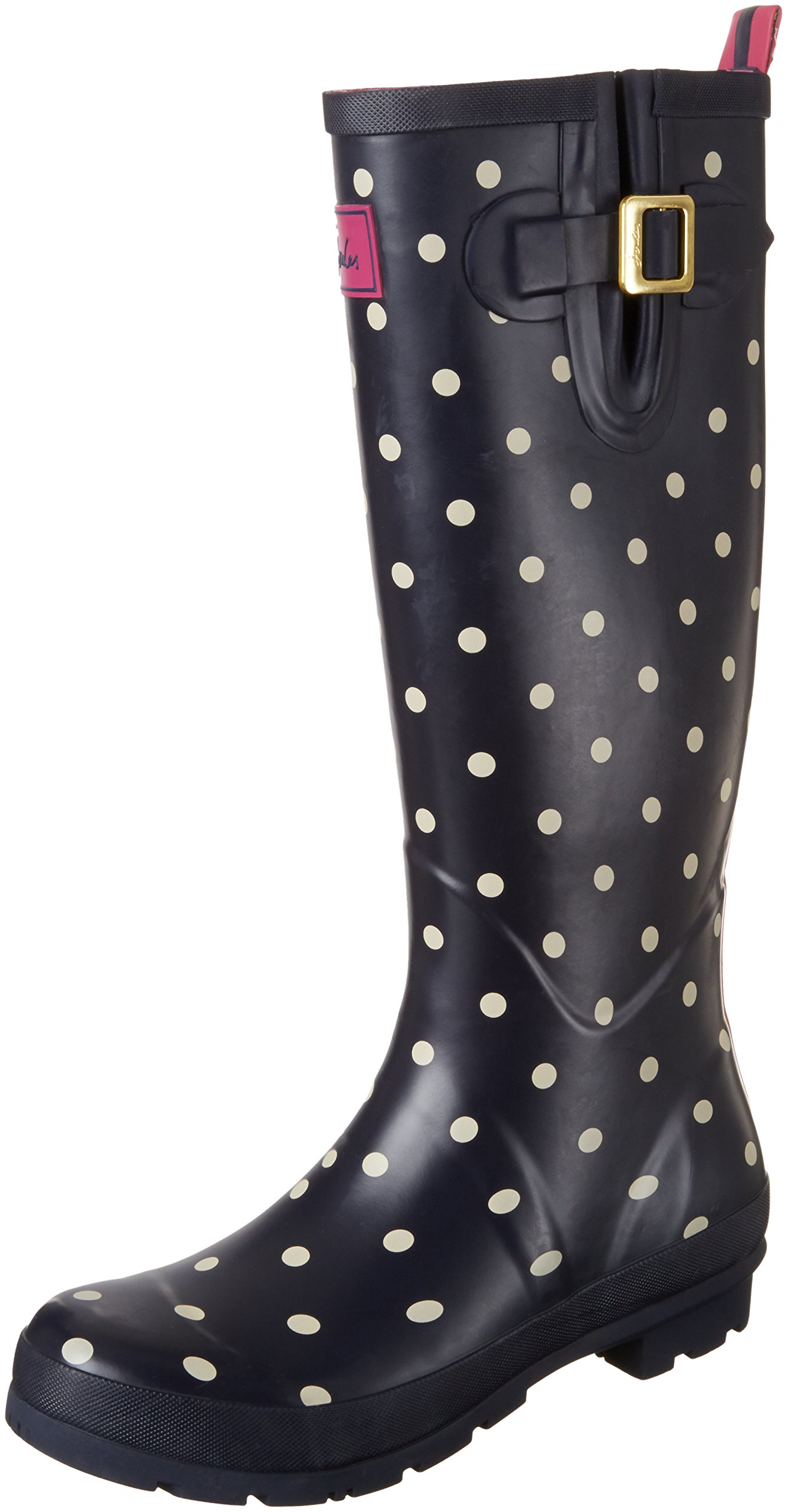 Joules Women's Welly Print Rain Boot, Navy Spot White, 9 M US