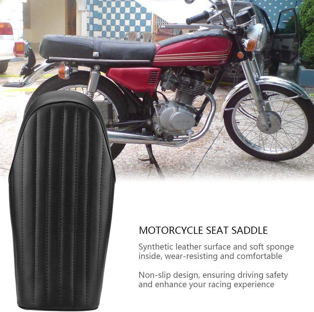 Flat Cuque Motorcycle Seat Synthetic Leather Motorbike Seat Saddle Retro Cafe Racer Seat Cover Cushion for Honda CG125 1976-2008 Flat Hump Optional