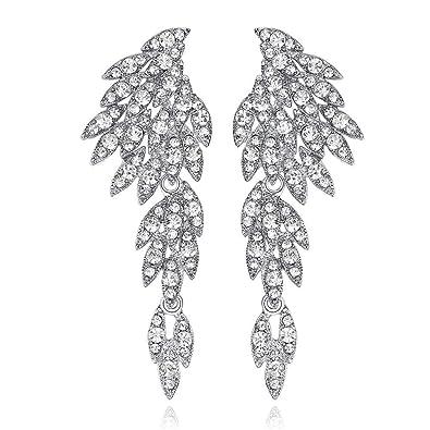 efb8ea620 mecresh Vintage Style Wedding Crystal Rhinestone Cluster Chandelier Hollow  Dangle Earrings Silver