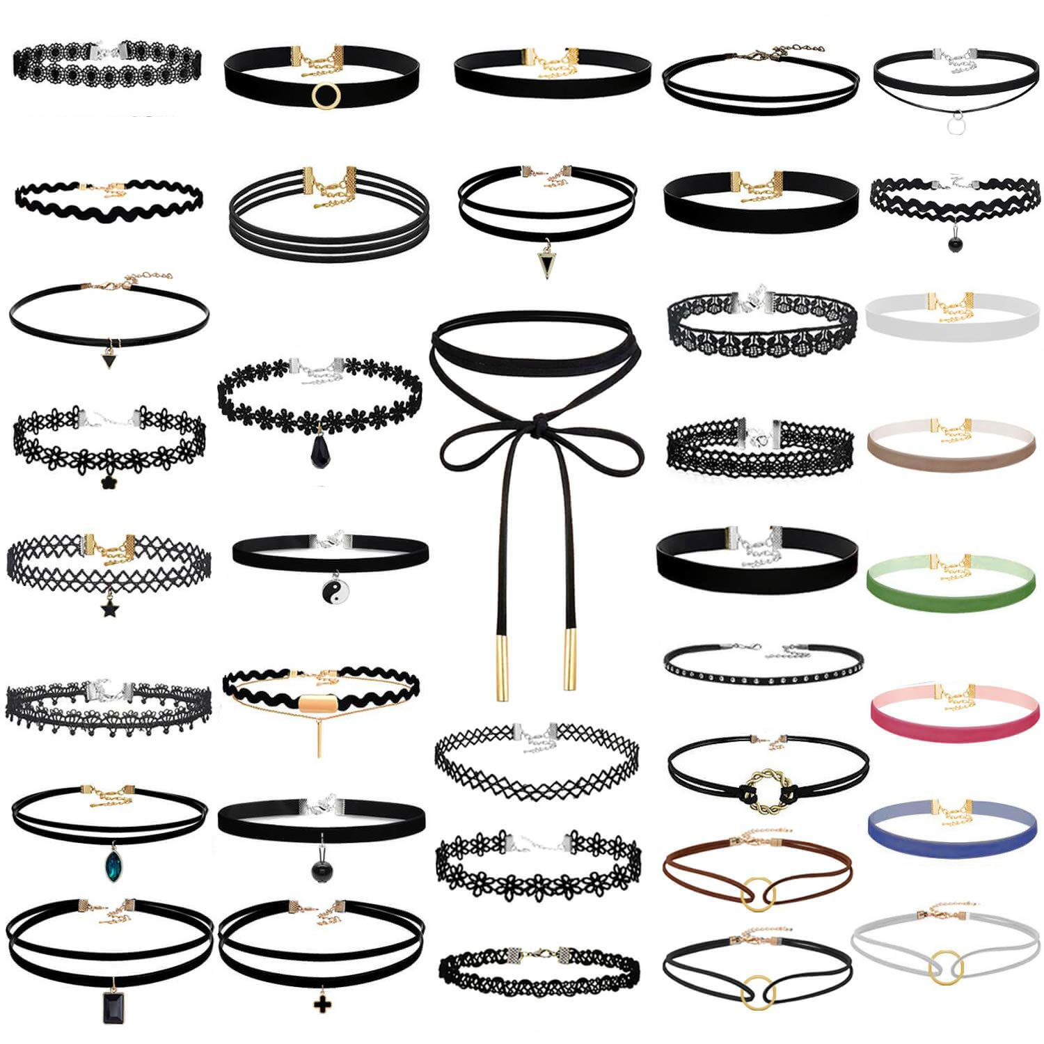 Paxcoo 50Pcs Black Choker Necklaces Set for Teen Girls and Women by PAXCOO