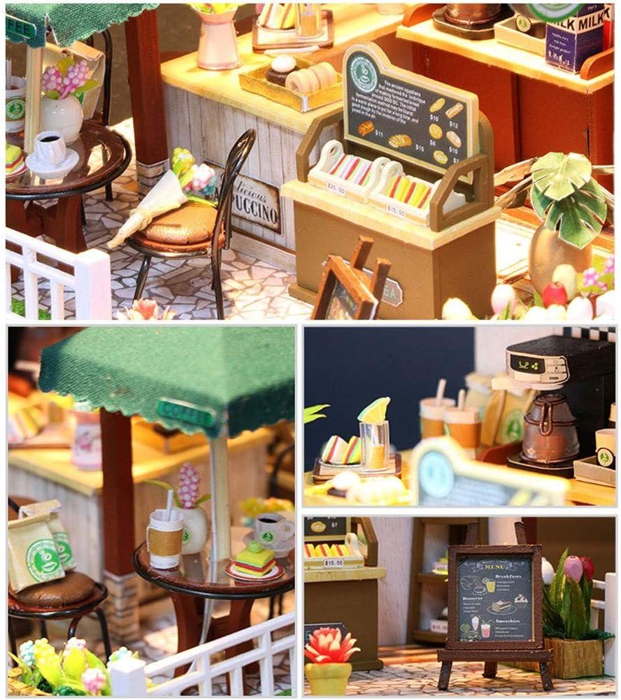 Evav Juego de casa de muñecas en Miniatura DIY, Regalo de cumpleaños de Juguetes educativos ensamblados a Mano (Casa de café del Tiempo): Amazon.es: Hogar