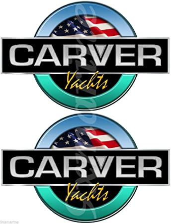 Two carver boat remastered round generic decals stickers