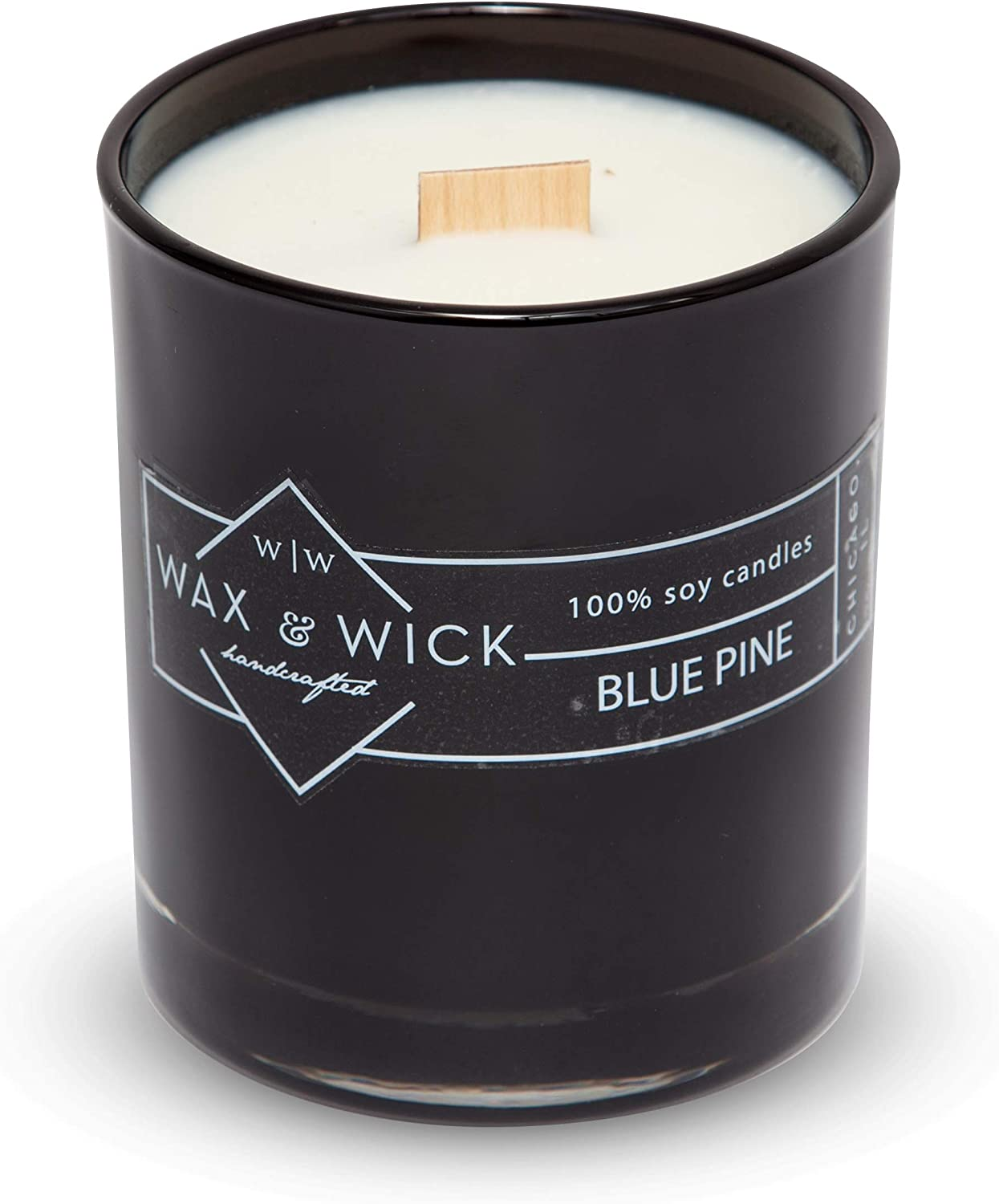 Scented Soy Candle: 100% Pure Soy Wax with Wood Double Wick   Burns Cleanly up to 60 Hrs   Blue Pine Scent with Notes of Citrus, Cedarwood, and Pine.   12 oz. Black Jar by Wax and Wick