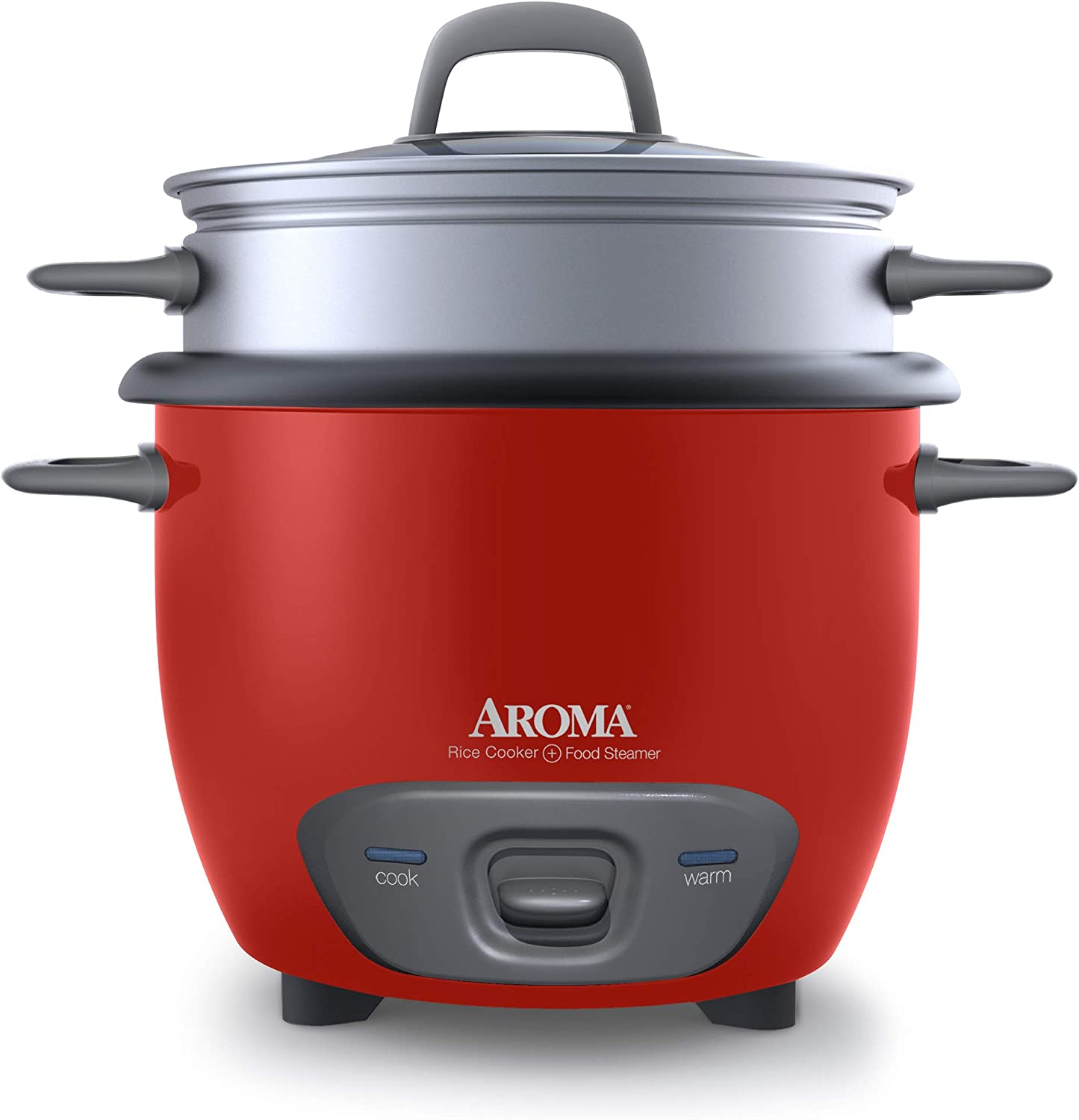 Aroma Housewares 14-Cup (Cooked) (7-Cup UNCOOKED) Pot Style Rice Cooker and Food Steamer (ARC-747-1NGR) , Red