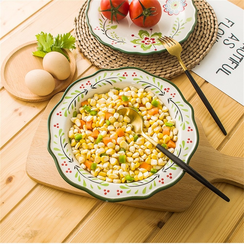 Ensalada de fruta grande de cerámica Pasta Bowl Creativa sopa pintada a mano Ramen Noodle Bowl Horno microondas Safe Mixing Bowl 9 pulgadas: Amazon.es: ...