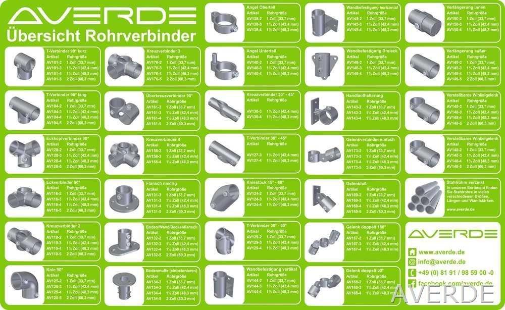 AVERDE Rohrverbinder 119-2 Kreuzverbinder 1 33,7 mm Durchgang Pipe Clamp f/ür Reitplatz Stahlguss Temperguss 90/° Paddock Gel/änder