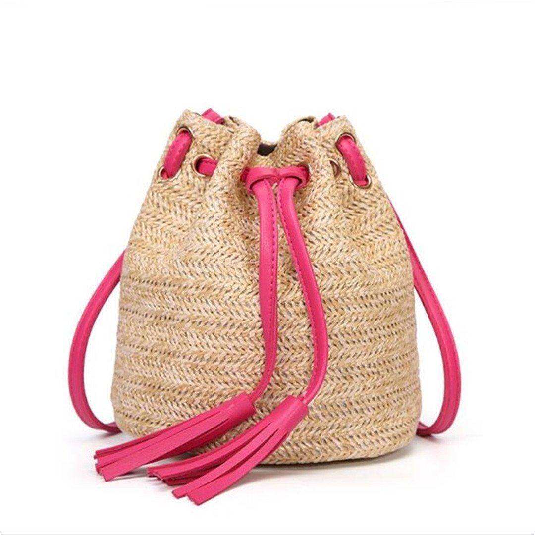 Women Small Beach Bohemian Round Straw Crossbody Bucket Hobo Bags For Lady Summer Panier Plage Shoulder Rattan Messenger Bags Rose
