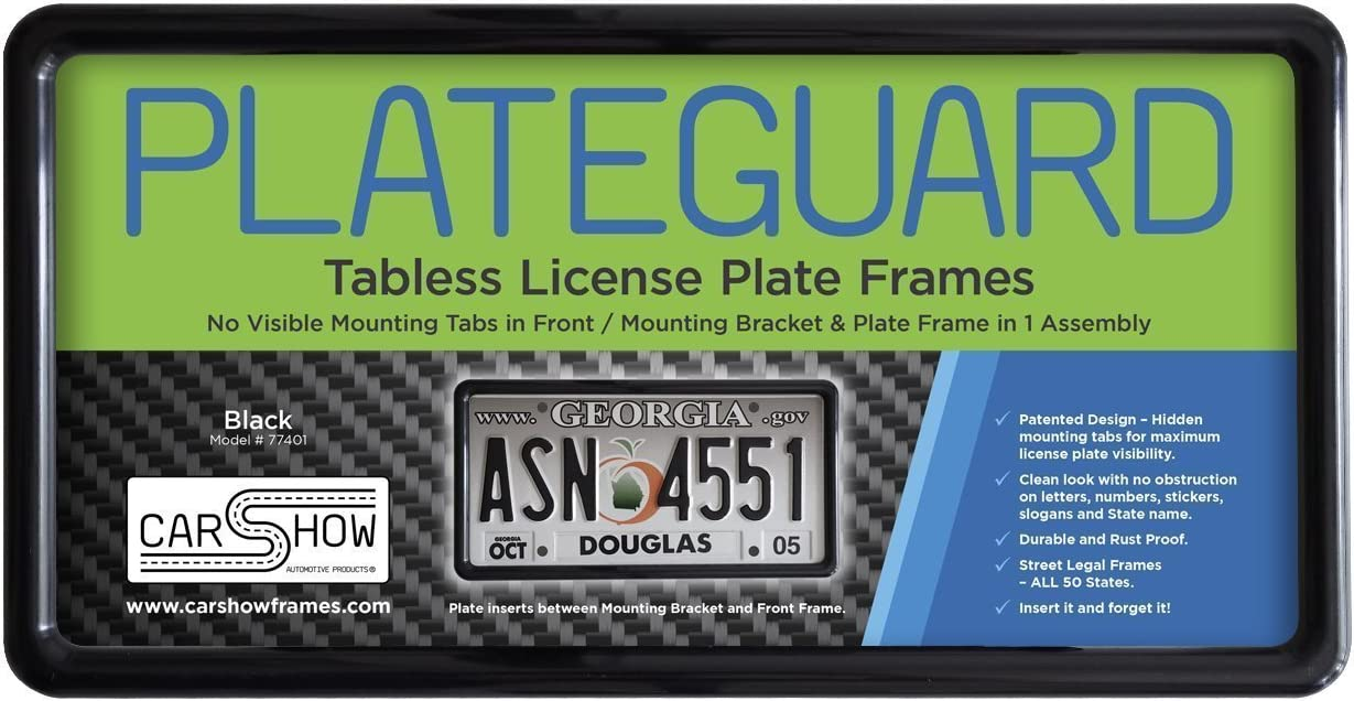 Carshow Automotive Products 77401 Plateguard, Tabless License Plate Frame and Holder/Bracket, Black