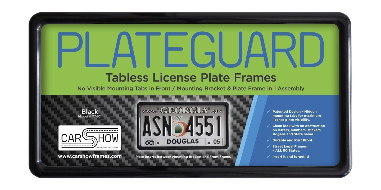 Carshow Automotive Products 77401 Plateguard, Tabless License Plate Frame and Holder/Bracket, Black by Carshow Automotive Products