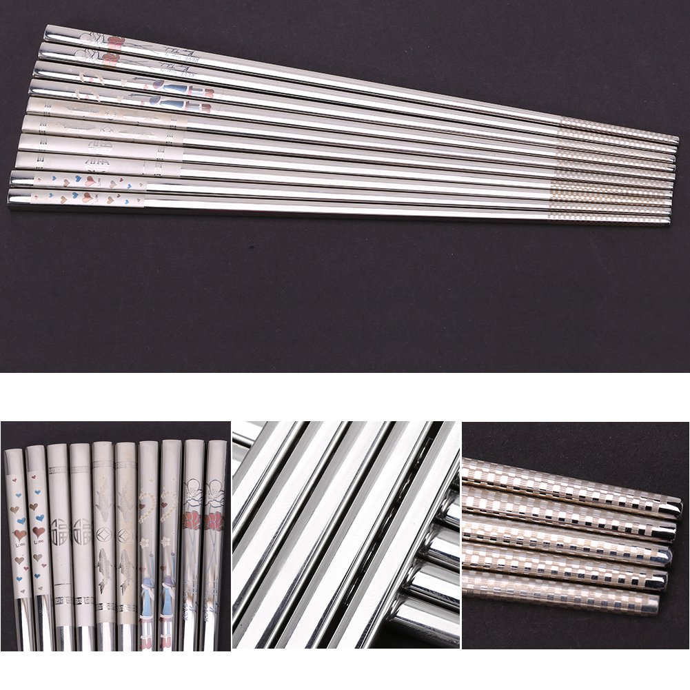 Portable Stainless Steel Sushi Chopsticks Creative Engraving Rose Heart Pattern Tableware 9.25 Inch (Heart) by Zerone (Image #6)