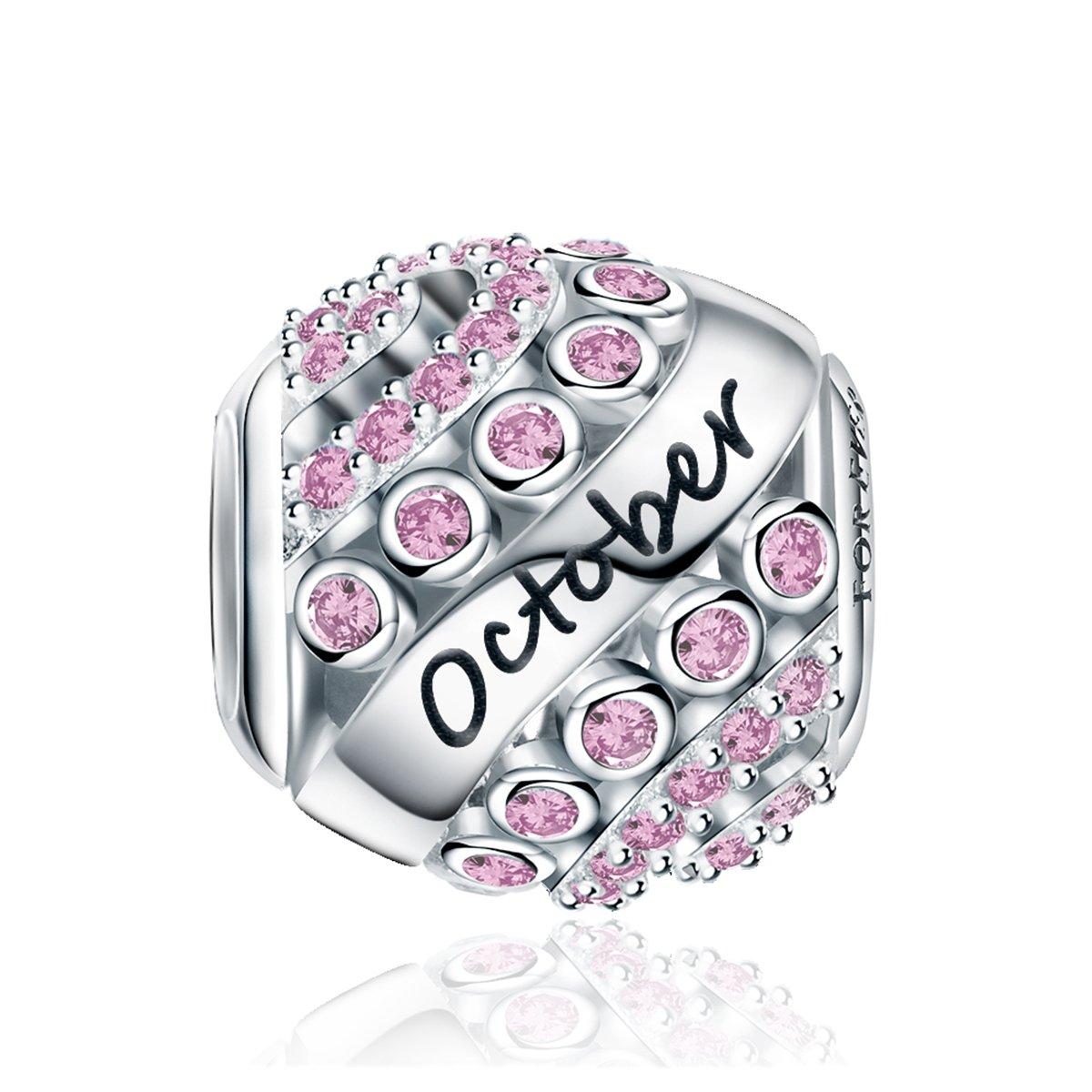 FOREVER QUEEN October Birthstone Charms for Pandora Charms Bracelet- 925 Sterling Silver Bead Openwork Charms, Happy Birthday Charms for Bracelet and Necklace FQ0004-10 by FOREVER QUEEN