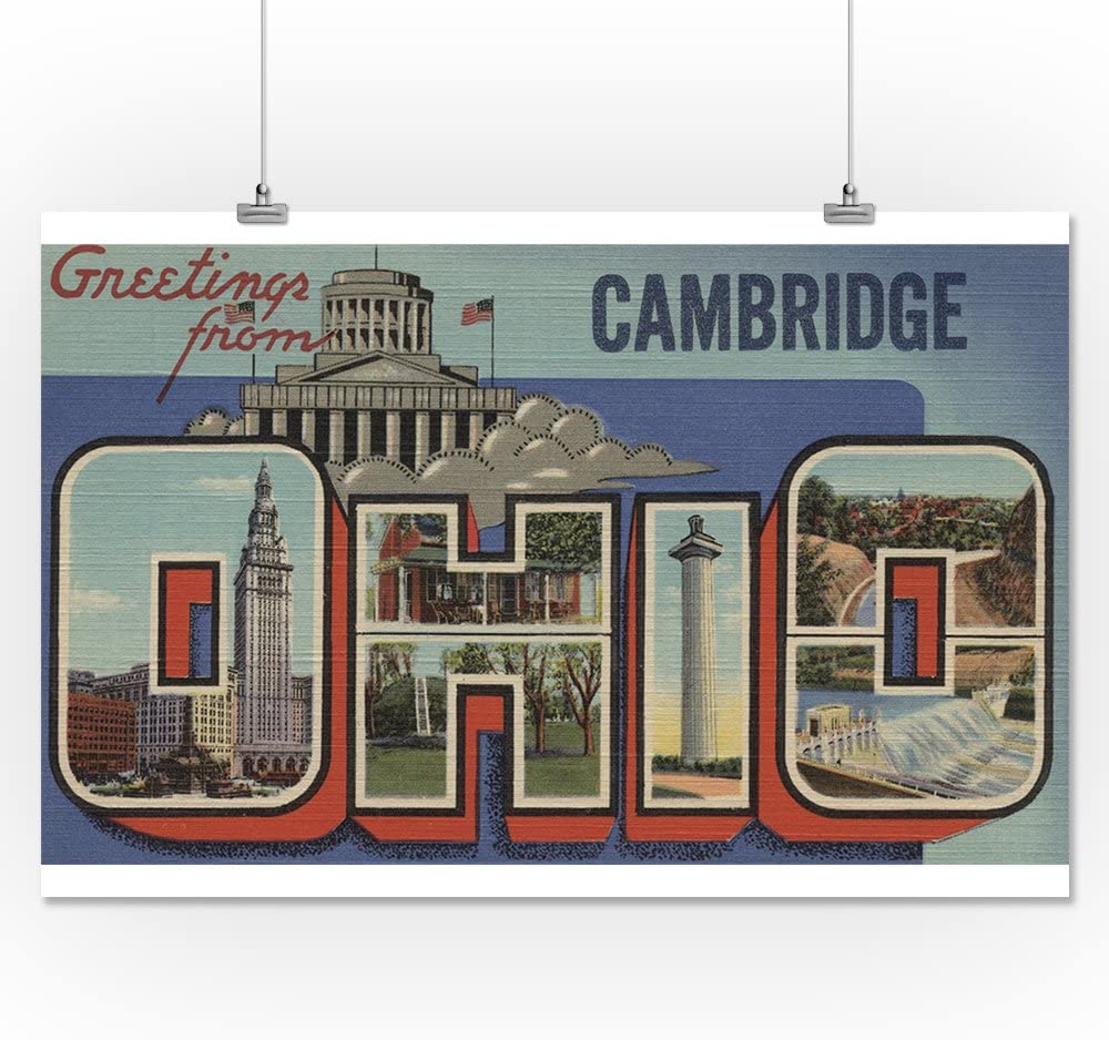 24x36 Giclee Gallery Print, Wall Decor Travel Poster Ohio Greetings from Cambridge