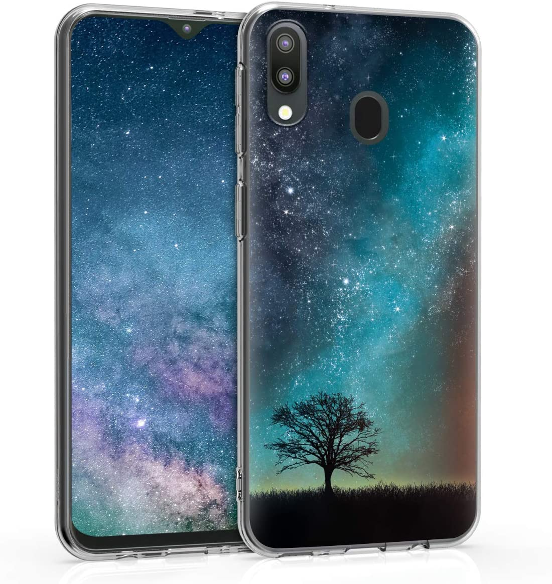 kwmobile Case Compatible with Samsung Galaxy M20 (2019) - TPU Crystal Clear Back Protective Cover IMD Design - Cosmic Nature Blue/Grey/Black