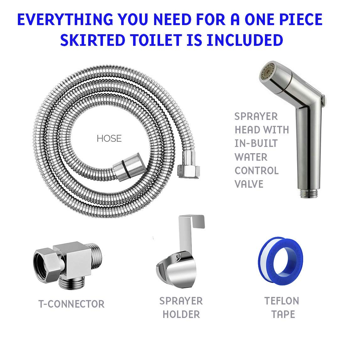 Brushed Nickel, One Piece Toilet Purrfectzone Handheld Bidet Sprayer for One Piece Skirted Toilet Stainless Steel Baby Cloth Diaper Sprayer for Skirted Toilet