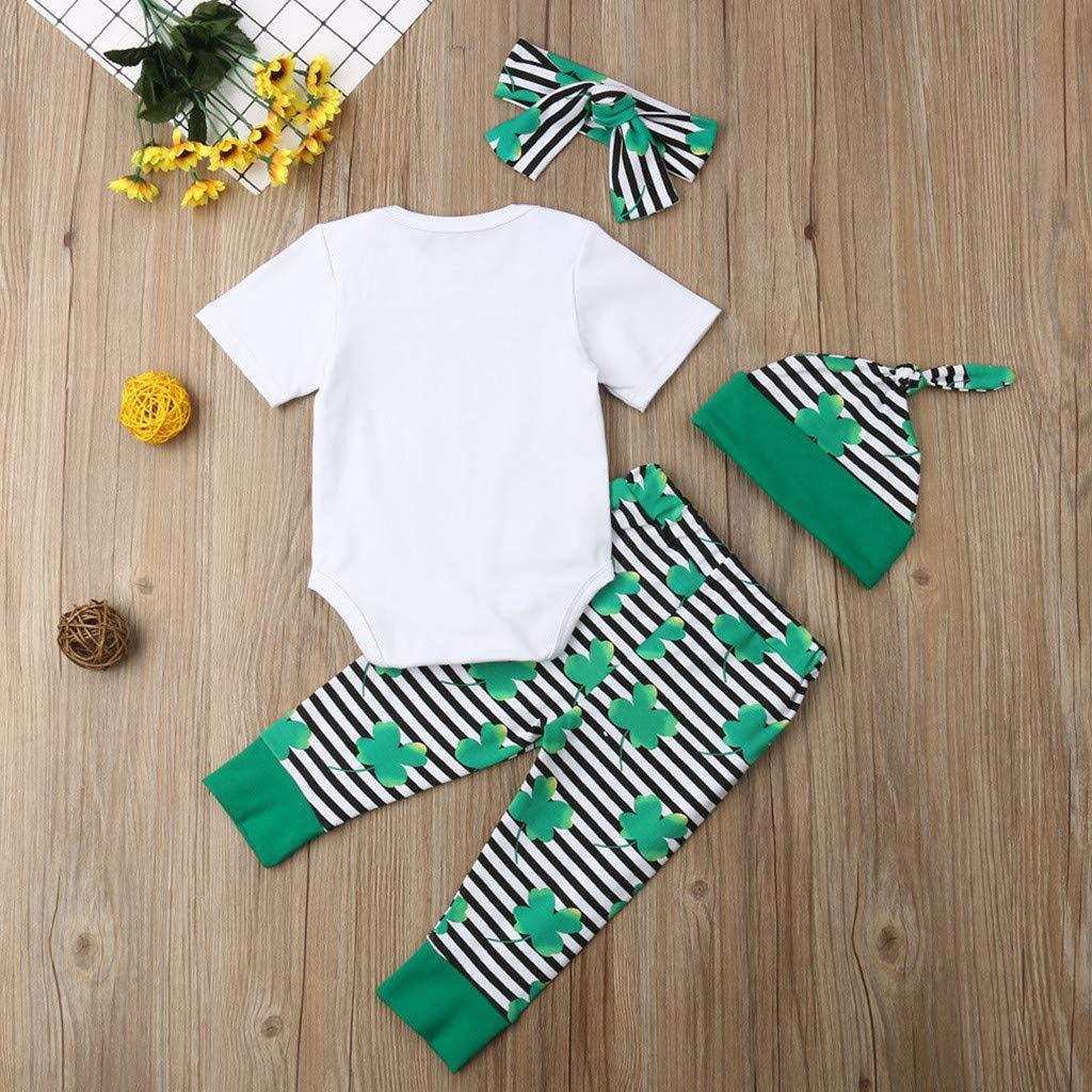 Hauzet Infant Baby Short Sleeve St Patricks Day Letter Print Romper+Pants+Headbands+Hat Outfits Set