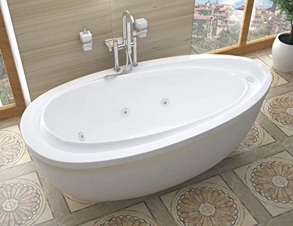 Atlantis Whirlpools 3871BW Breeze 38 x 71 x 20 inch Oval Freestanding Whirlpool Jetted Bathtub