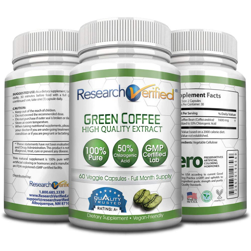 Green Coffee Bean Extract - One Month Supply - 100% Pure by Research Verified - 50% Chlorogenic Acid - 365 Day 100% Money Back Guarantee - Try Risk Free for Fast and Easy Weight Loss by Research Verified (Image #5)