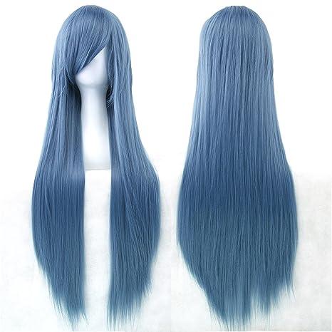 Fouriding 31.5 quot  80cm peluca larga Cosplay anime mujer pelo largo peluca  recta sintética diaria 1909dbccb921