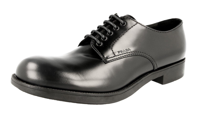 Prada Men's 2EE191 B4L F0002 Black Brushed Spazzolato Leather Business Shoes EU 9.5 (43,5)/US 10.5