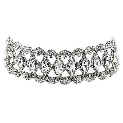 66ca547543a2 Demiawaking Luxury Women Faux Diamond Crystal Choker Necklace Rhinestone  Chunky Statement Collar Necklace Jewelry Gift (Silvery)  Amazon.co.uk   Jewellery