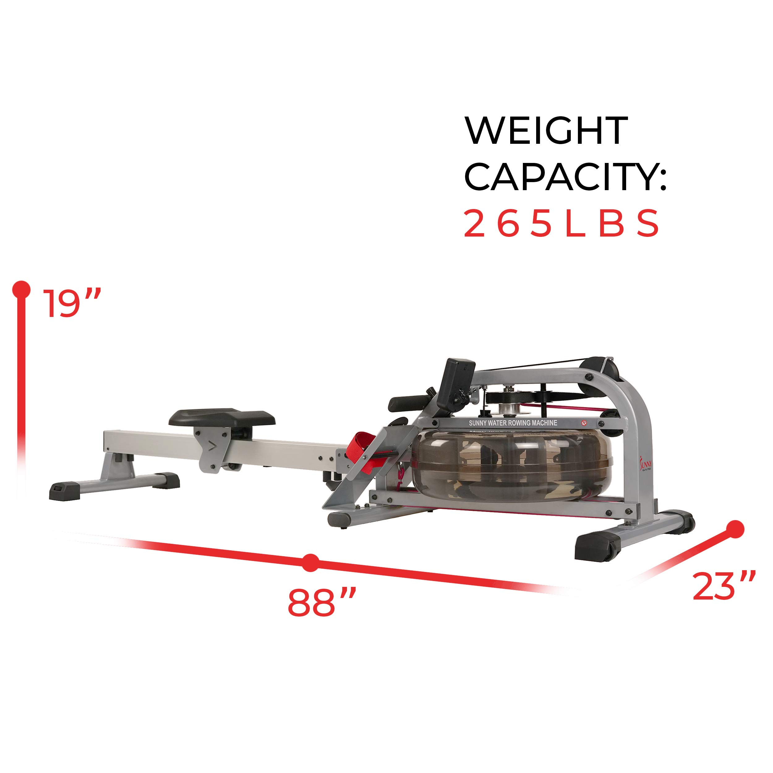 Sunny Health & Fitness Water Rowing Machine Rower w/LCD Monitor - SF-RW5866 by Sunny Health & Fitness (Image #19)