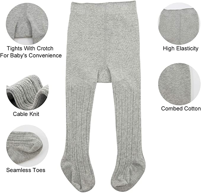 Zando Baby Girls Tights Soft Cable Knit Cotton Leggings For Baby Big Girls Toddler Seamless Socks Infant Pants Stockings