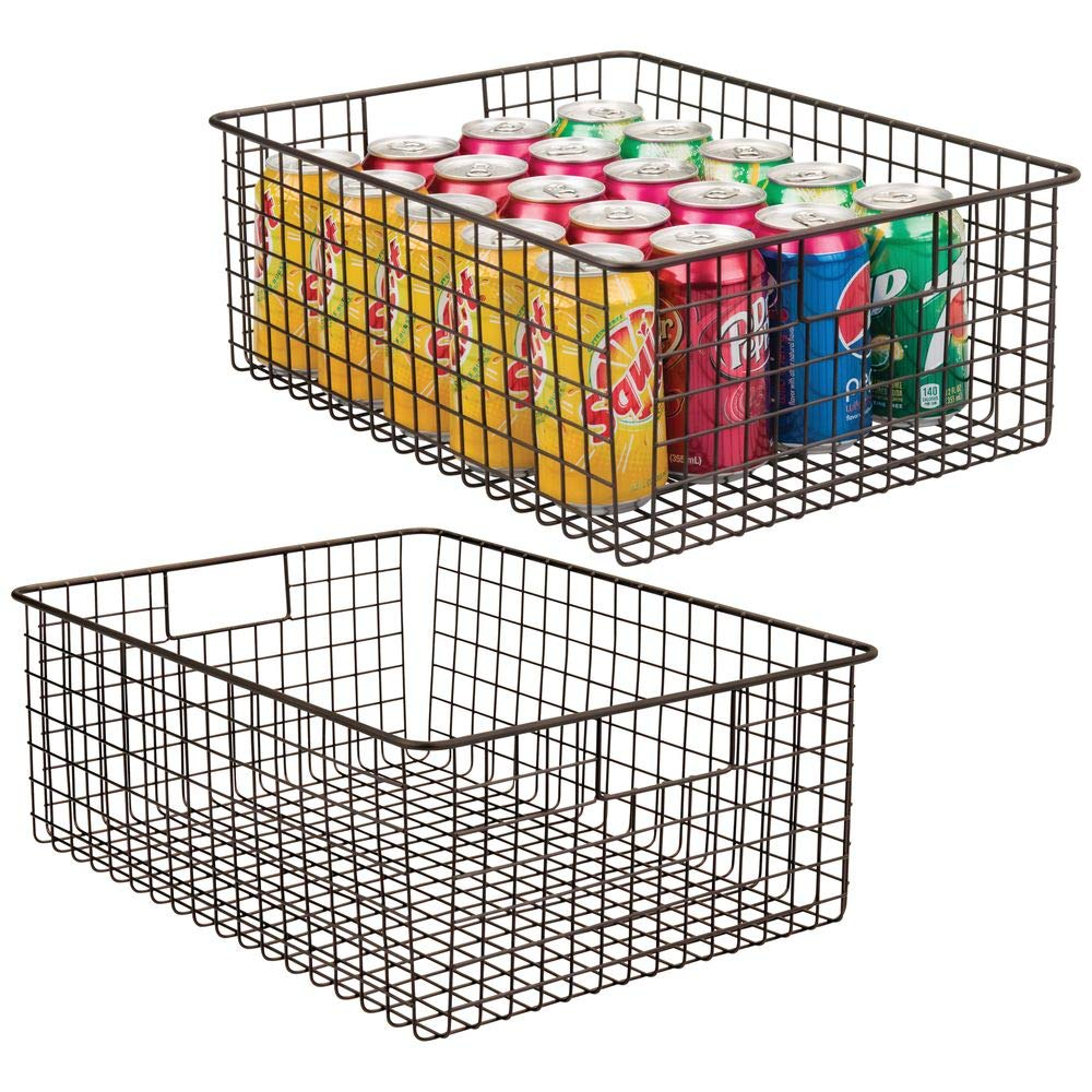 mDesign Farmhouse Decor Metal Wire Food Organizer Storage Bin Baskets with Handles for Kitchen Cabinets, Pantry, Bathroom, Laundry Room, Closets, Garage - 2 Pack - Bronze by mDesign