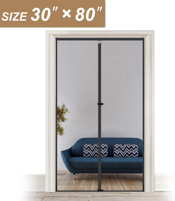 Puertas de pantalla con imanes 32 x 81, puerta de malla para puerta frontal de entrada de 30 pulgadas de ancho x 80 pulgadas de alto con gancho y tira de bucle