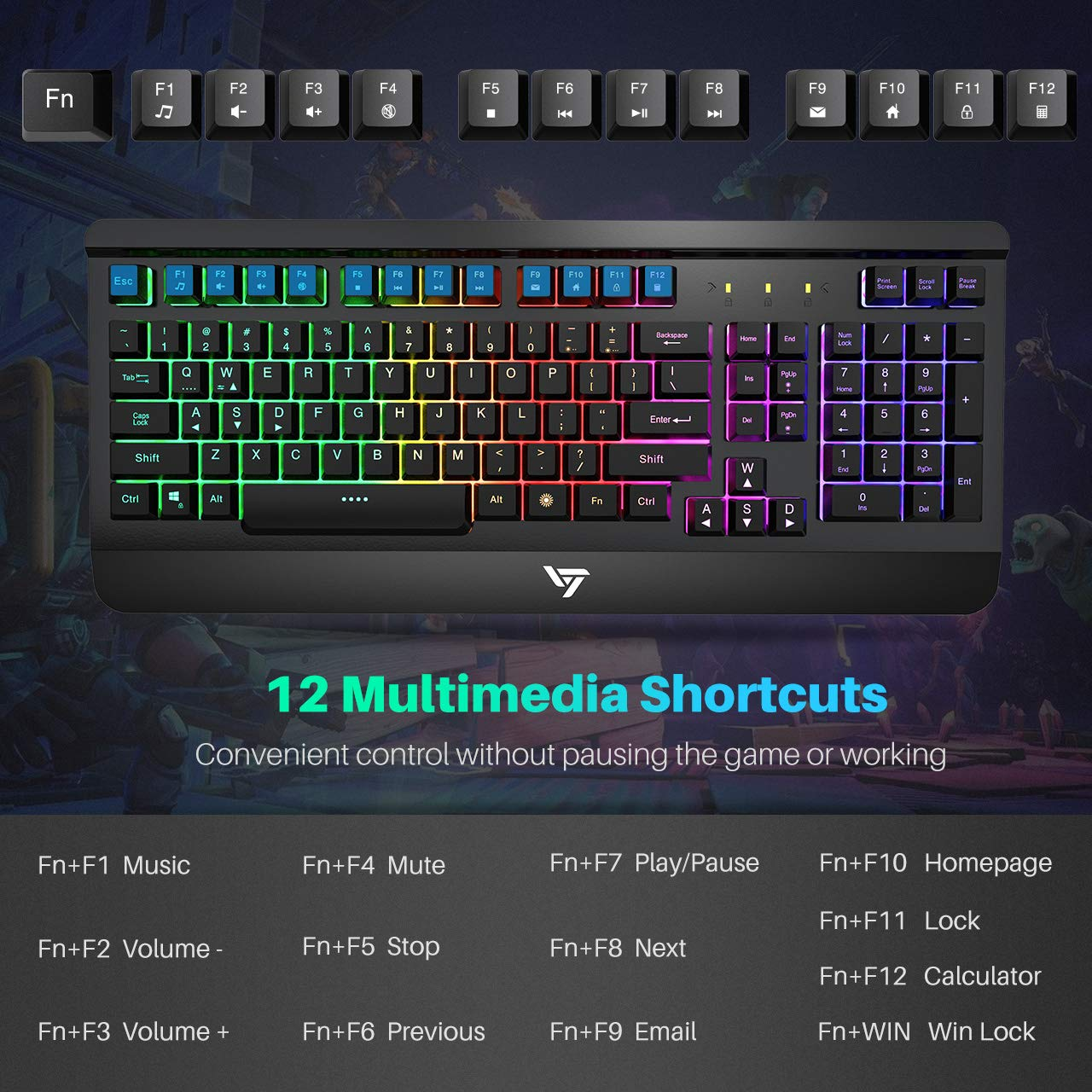 VicTsing Gaming Keyboard Mouse Combo, Ultra-Slim Rainbow LED Backlit Keyboard with Ergonomic Wrist Rest, Programmable 6 Button Mouse for Windows PC Gamer, Spill-Resistant Design - Black by VicTsing (Image #4)