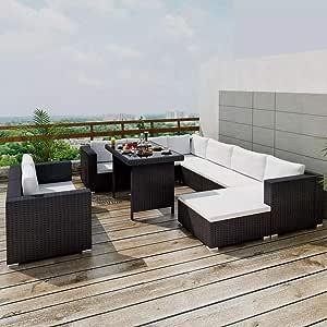 tidyard Conjunto Muebles de Jardín de Ratán 28 Piezas Sofa Jardin ...