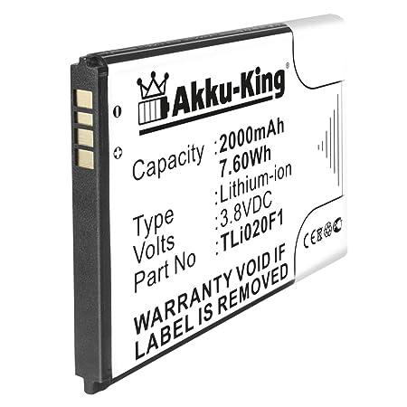 Akku-King Akku ersetzt Alcatel TLi019B2 TLi020F1 - Li-Ion 2000mAh - für One Touch 7040, 7041, Elevate, Fierce 2, Idol 2 Mini