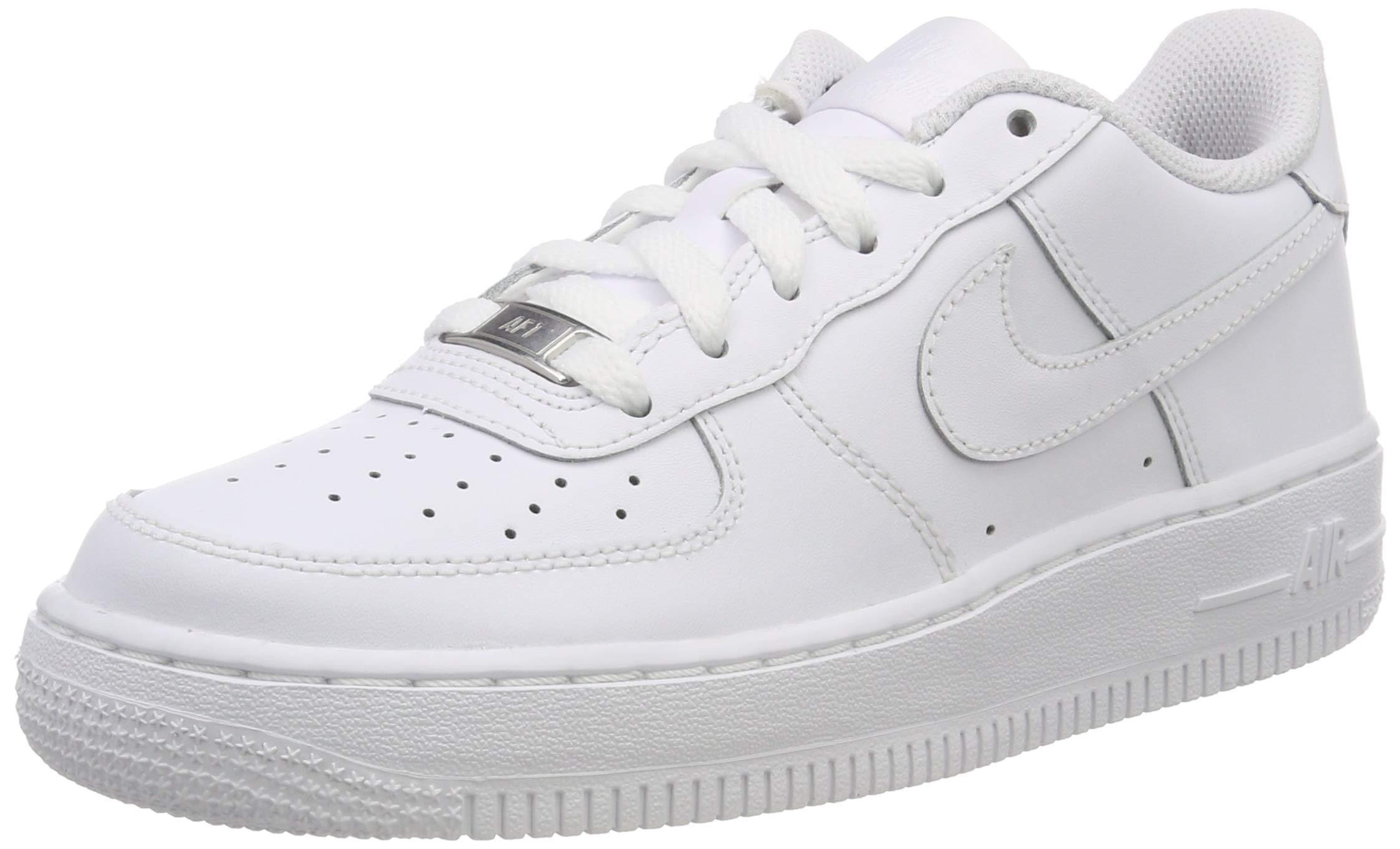 Nike Kids Air Force 1 (GS) White/White/White Basketball Shoe 5.5 Kids US