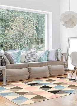 Unamourdetapis Tapis Chambre Scandinave BC Triangle Pastel Multicolore 140  X 200 Cm Fabriqué En Europe Tapis