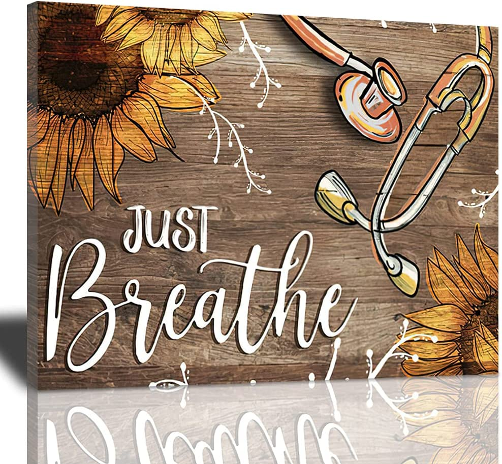 Just Breathe Canvas Wall Art Beautiful Sunflower And Medical Stethoscope Inspirational Pictures Motivational Quotes Poster Framed Wall Decor For Office Bedroom Ready To Hang 20x24 Inches