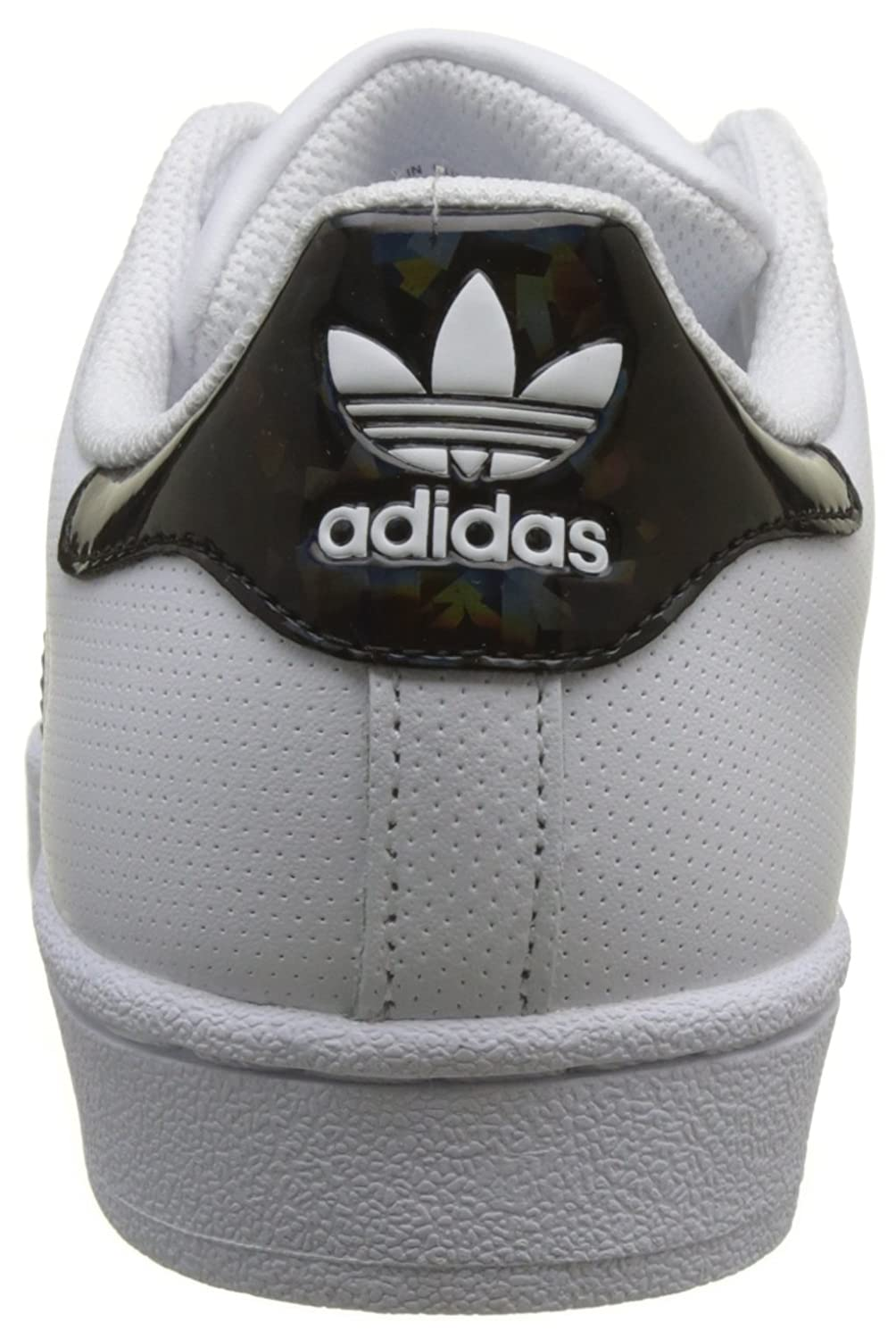 Amazon.com | adidas Originals Superstar J White/Black Holographic Leather Youth Trainers | Sneakers