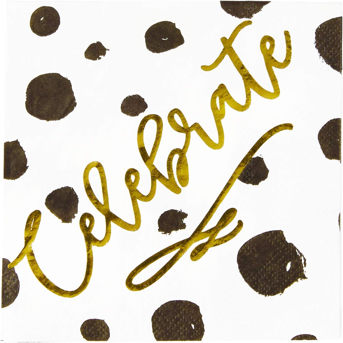 X&O Paper Goods Gold Foil ''Celebrate'' Black and White Spotted Party Napkins, 20 ct., 5'' x 5''