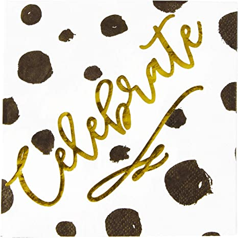 Amazon Com X O Paper Goods Gold Foil Celebrate Black And White Spotted Party Napkins 20 Ct 5 Cocktail