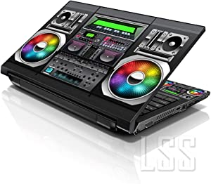 """LSS Laptop 15 15.6 Skin Cover with Colorful Boon Box Music Pattern for HP Dell Lenovo Apple Asus Acer Compaq - Fits 13.3"""" 14"""" 15.6"""" 16"""" (2 Wrist Pads Free)"""