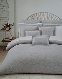 Awesome Hotel Balfour King Duvet Quilt Cover Set 100% Cotton Matelasse, Grey, Gray  Medallion
